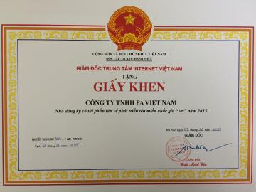 Received the certificate of merit from VNNIC